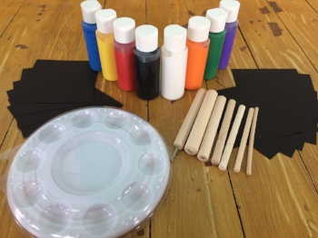 Your kit will include a set of our dotting tools and a tray with a cover for each participant.