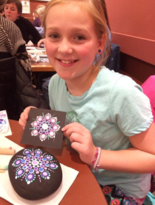 Beautiful mandalas created by first-time kid Dotter in a Travelling Kindness Rocks workshop.
