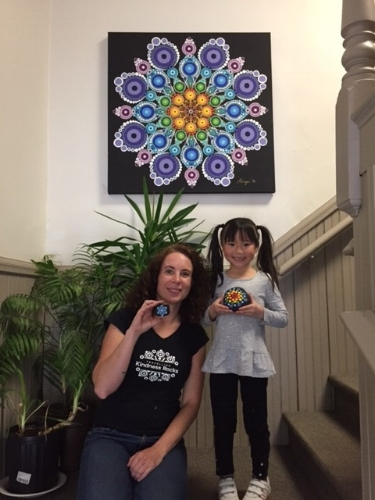 Fallon's 7th birthday was held at the Travelling Kindness Rocks Shop, Windsor, NS, where she painted her rainbow coloured rock, a keepsake from her special day.
