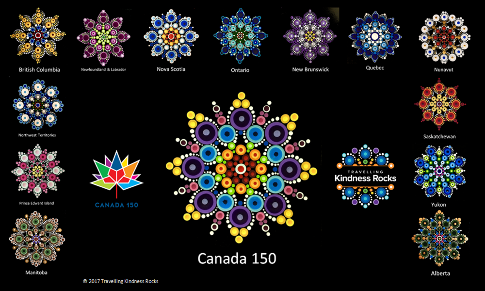 Once you have dotted your copy of the Canada 150 mandala, you are invited to take and post to social media a spirit-boosting pic of your Canada 150 mandala. By doing so, your name will be entered to win one of three copies of the complete Canada 150 pattern collection. Draws take place on July 1, October 1, and January 1.