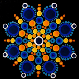 Participants will learn how to create their own designs and follow Ginger's patterns, dotting together to create the blue and orange design shown here.