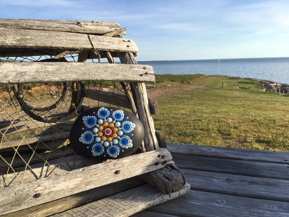 There are so many fantastic spots to take a photo the Nova Scotia pattern!  Bring your completed mandala around the province with you, snap its picture, and post to  #TKRnovascotia  for a chance to win a prize.  Prizes provided by Travelling Kindness Rocks and partnering businesses.