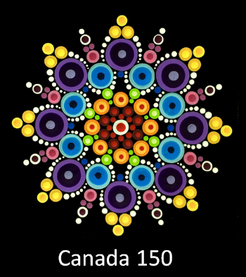 The Canada 150 pattern was inspired by the official Canada 150 logo. The center red dots represent the four provinces that formed confederation. The other colours symbolize Canada's diversity.