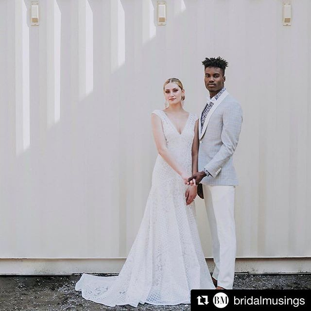 New work in @bridalmusings ・・・ The epitome of industrial-chic on the blog today - (and unmissable groomspiration!) link in bio. . Photography, Art Direction, Styling & Flowers @olivestudiocanada // Location @storstac_containers // Male Model @langmodels // Female Model @savdimuccio // Hair & Makeup @barnonebeauty // Cake @makeitswt // Wardrobe Styling @judyinc // Suiting @gpmazzotta // Accessories @theloved_one // Gowns @leaannbelterbridal @anaisanette // Stationary @thepaperfoundry . #bmloves #bridalmusings #bride #groom #groomstyle #bridestyle #weddingfashion #weddingstyle #coolbride #hipbride #weddinginspiration