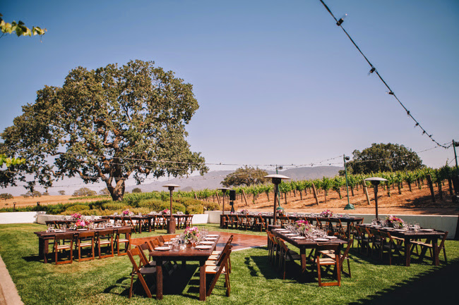 J Wiley Photography Gainey Vineyard Wedding Felici Events wooden tables at vineyard