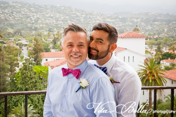 santa barbara courthouse gay wedding grooms view from the top