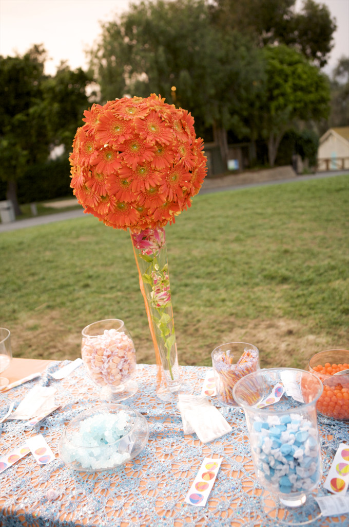 orange and teal candy bar decor  felicievents.com