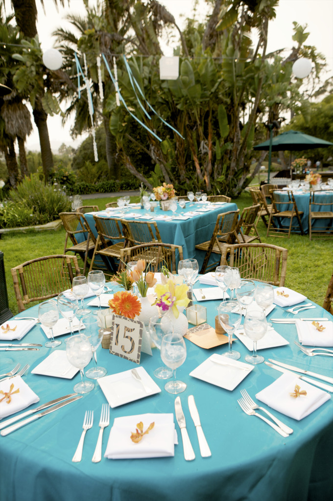 orange and teal table decor Felici Events
