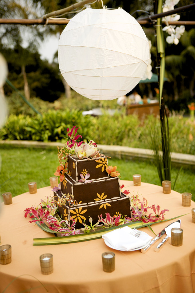 wedding cake chocolate with orange decor  felicievents.com