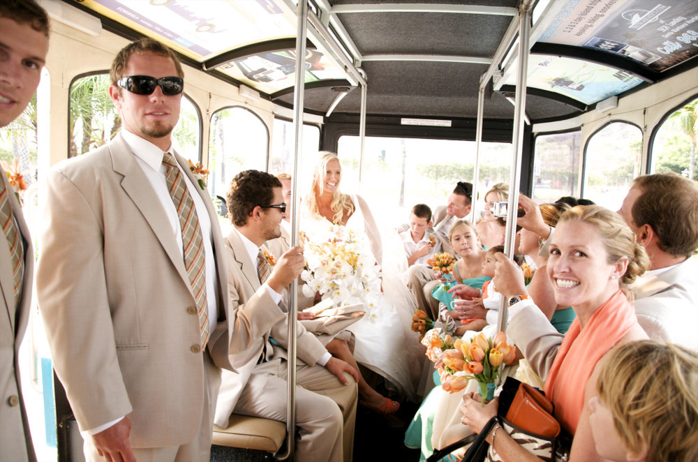 wedding party on the Santa Barbara electric trolley felicievents.com