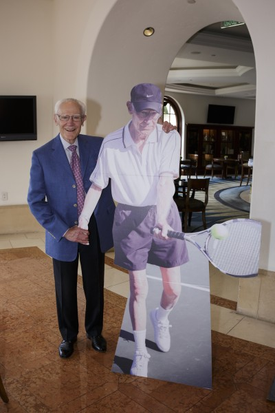 Michael Towbes Birthday 85th standing with lifesize