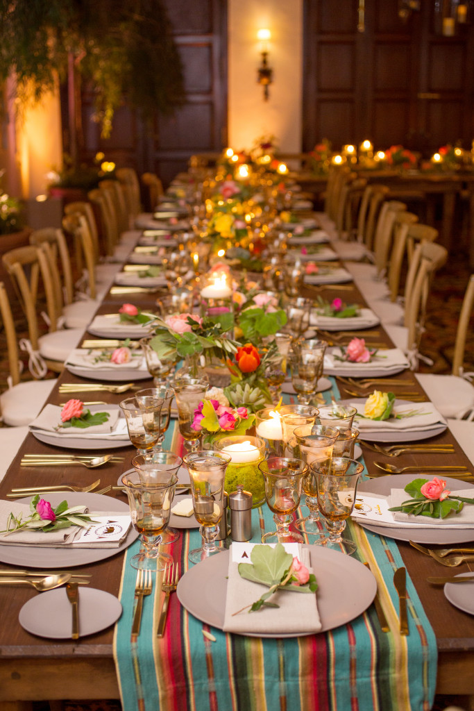Bar Mitzvah Felici Events Camping Themed Grey Plates Golden Silverware Colorful Linen Flowers Green Candles
