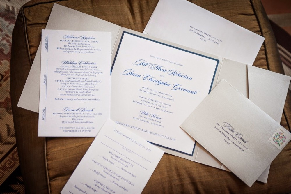 Jill and Jason Invitation Wedding Blue and Silver Felici Events