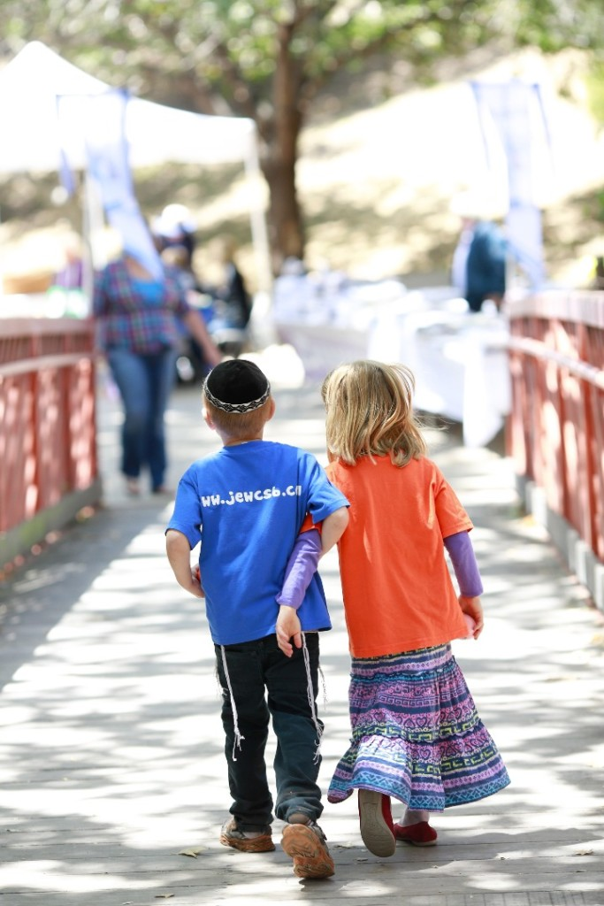 kids walking away Felici Events Jewish Festival Santa Barbara
