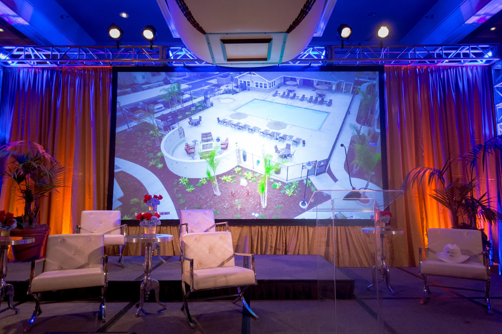 Felici Events | Planner | Fess Parker A Doubletree By Hilton Resort | 60th Anniversary Celebration | Construction Theme | Roast | Stage