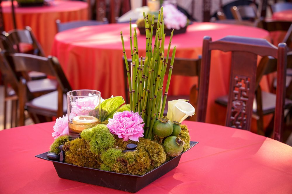 felicievents.com | Corporate Event planner | Asian Theme Dinner | Fundraiser | Non-Profit | Asian Floral Decor | Bamboo