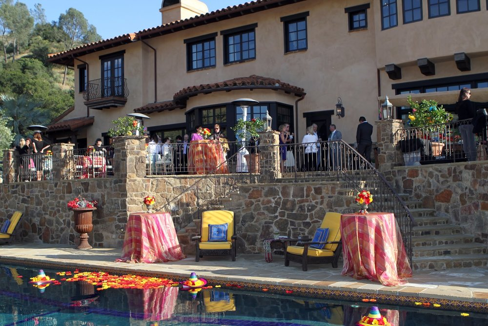 www.felicievents.com | hacienda fiesta | Mexican Party | Pool Decor | Sombreros and Flowers