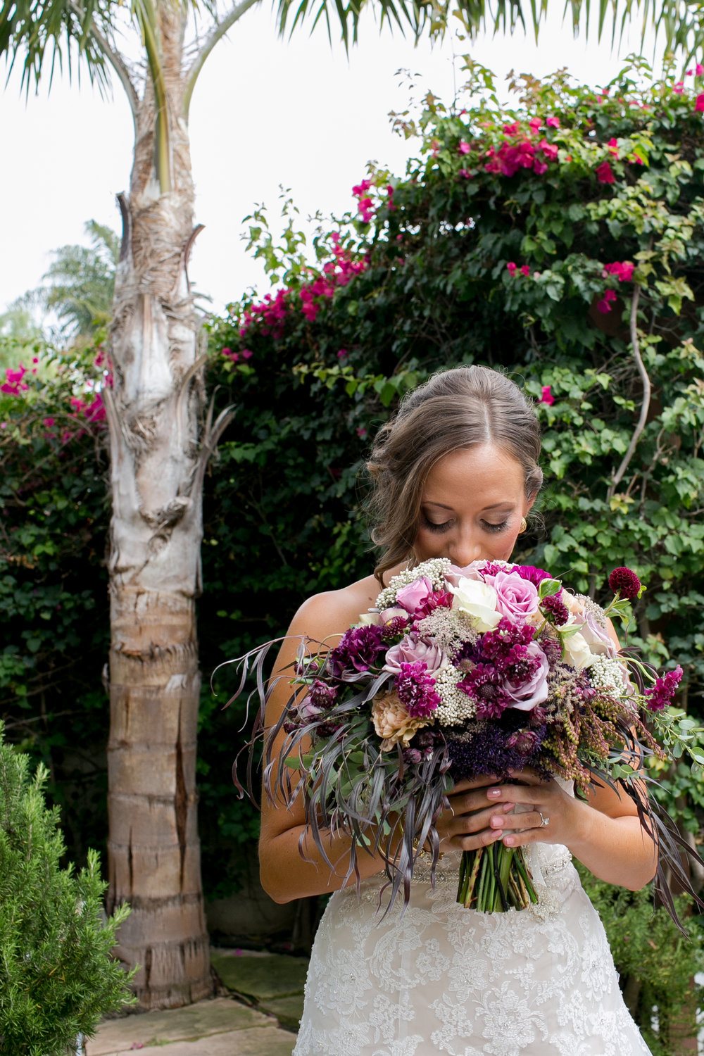 Felici Events | Felici Wedding | Santa Barbara Wedding | Bride | Bride Bouqet | Purple Flowers | Margaret Joan Floral