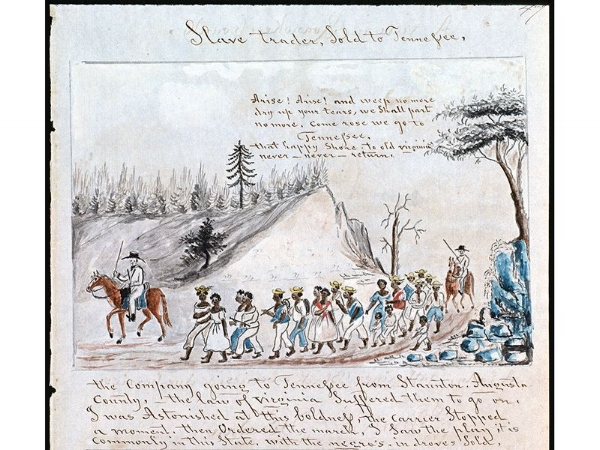 A coffle of slaves being marched from Virginia west into Tennessee, c. 1850. (Abby Aldrich Rockefeller Folk Art Museum, Colonial Williamsburg Foundation, Williamsburg, Virginia)