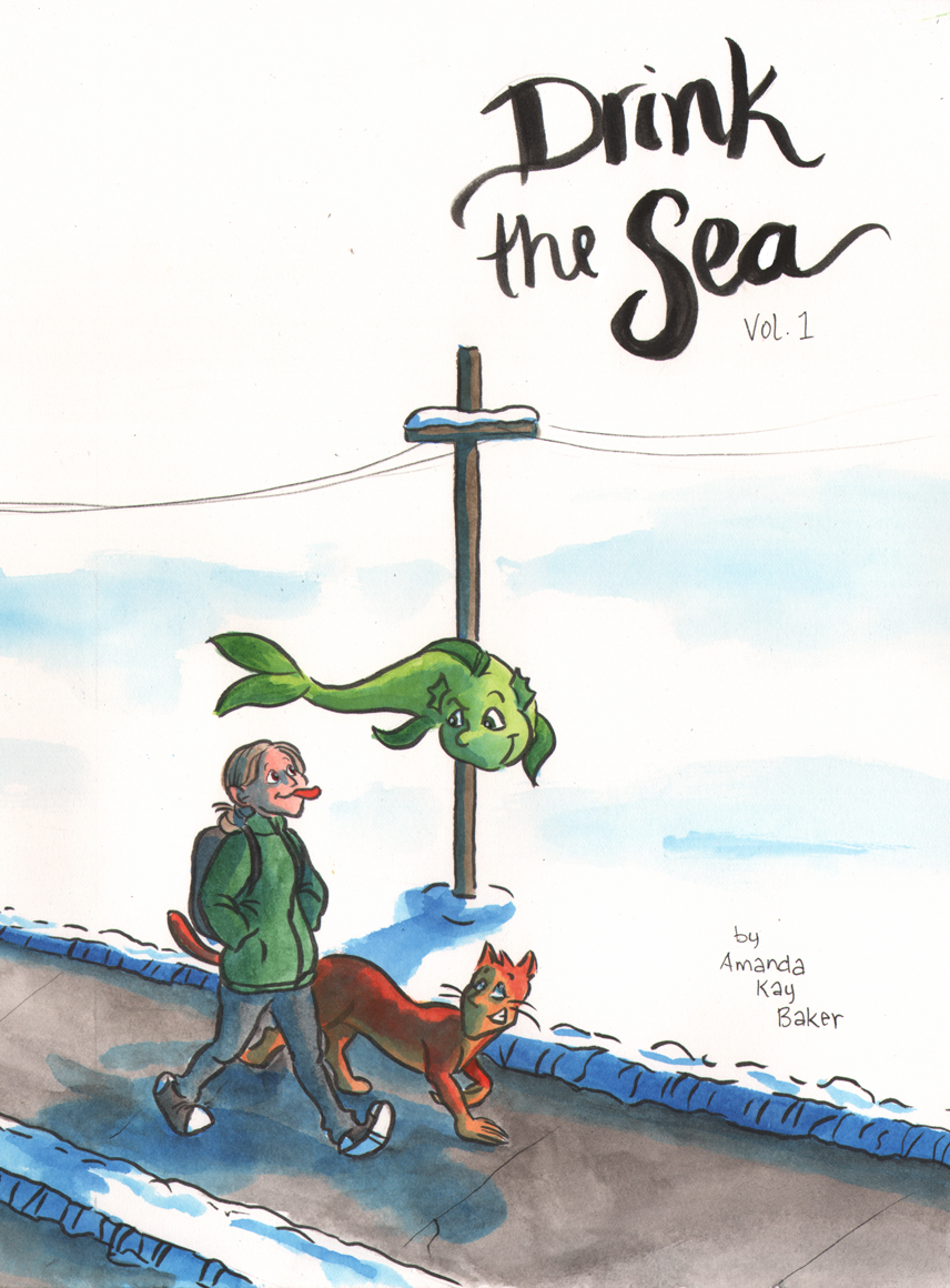 Drink the Sea - Volume 1Jubie is 15, awkward, and mediocre at everything. Luckily, she has her two friends, Heads and Tails, to help her out.Heads is like the guardian angel on Jubie's shoulder, dispensing wisdom and guidance. Tails can grant her special favors, for a price.But where do Heads and Tails come from, and what is their interest in Jubie? What is the price of Tails' favors, and can Jubie afford it?Click the image to read! (opens a PDF in a new window… sorry, I'm not super tech savvy.)