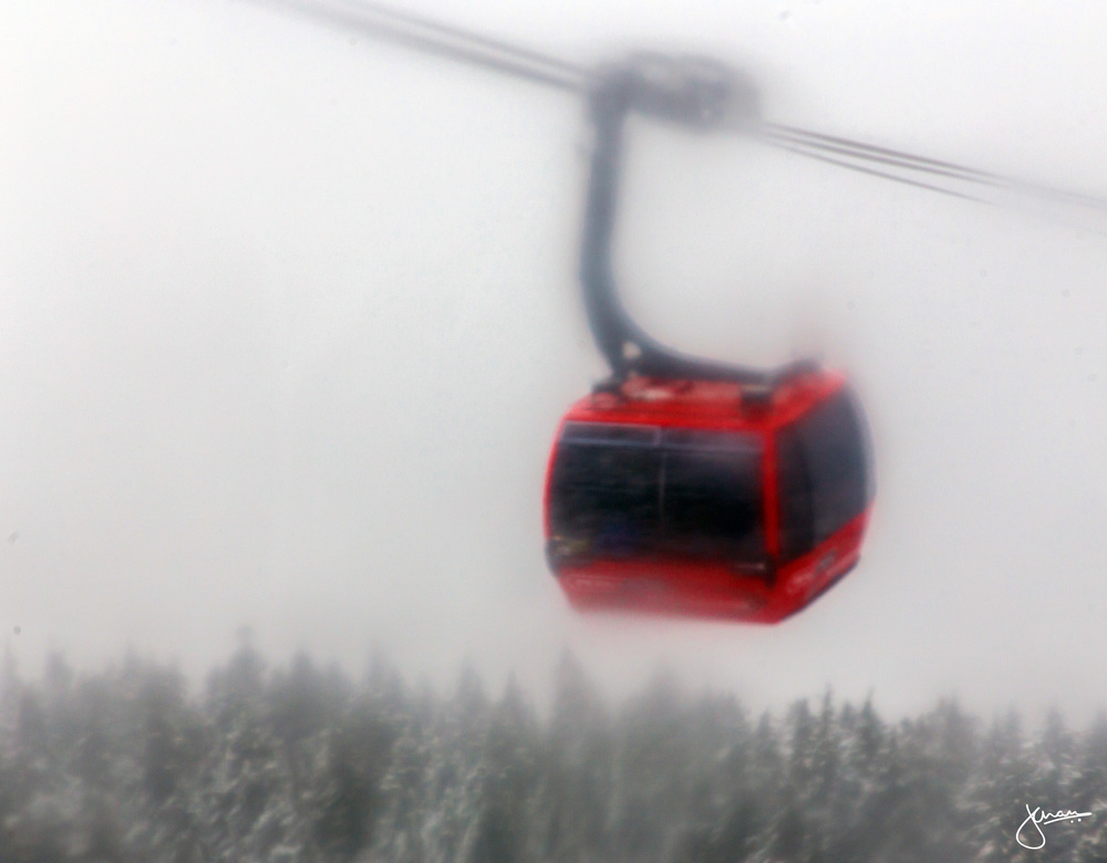 Gondola through the fog & snow