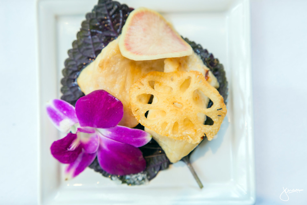Miso Maple Sablefish, with Watermelon Radish & Deep Fried Lotus Leaf, on Shiso Leaf