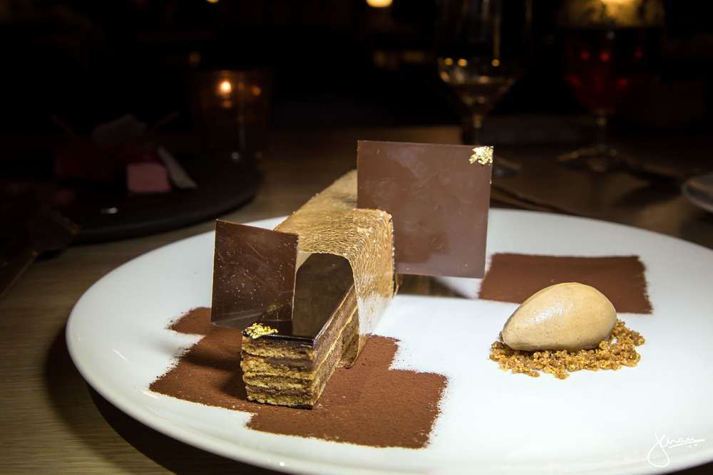 opera bar  - chocolate ganache, coffee buttercream & biscuit, hazelnut praline, chocolate glacage, coffee ice cream