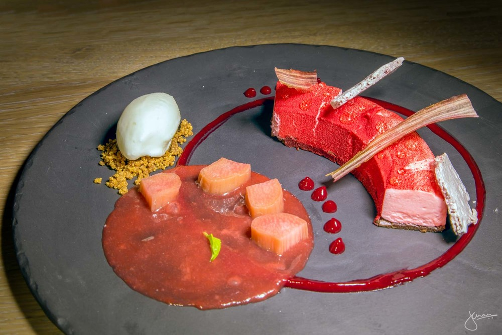 rose & rhubarb cake - rose white chocolate mousse, rhubarb compote, yogurt sorbet