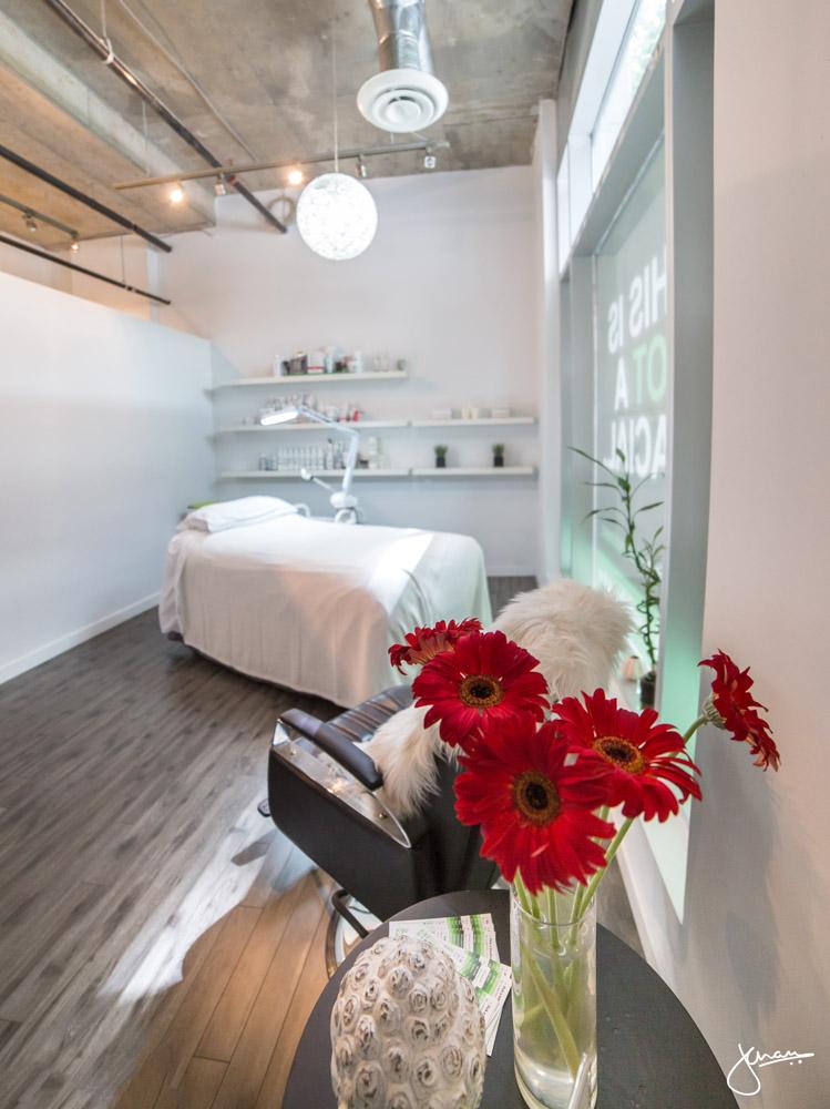 An inviting, bright facial room