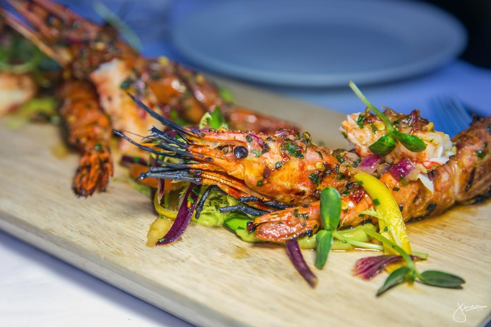 Grilled Spot Prawns & King Crab
