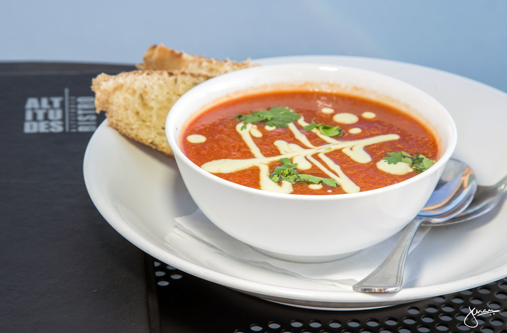 Roasted Tomato Soup with Avocado Yogurt & Cilantro