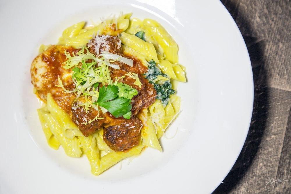 Garganelli Pasta - Beef & Pork Meatballs, Tomato Sauce, Kale