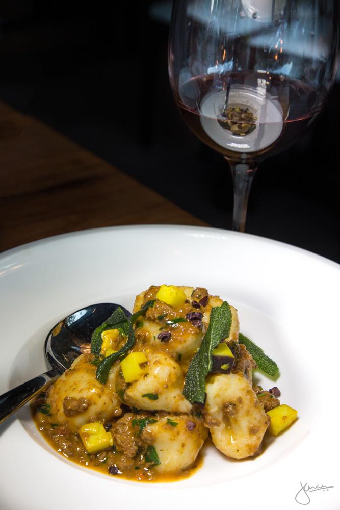 Potato Gnocchi | Venison Ragu, Crispy Sage, Saffron Pecorino, Cocoa Nibs, paired with Barbera d'Alba