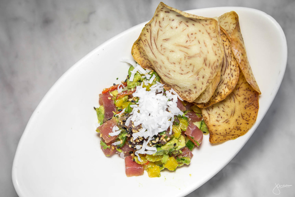 Ahi Tuna Poke, with Mango & Coconut with Chips