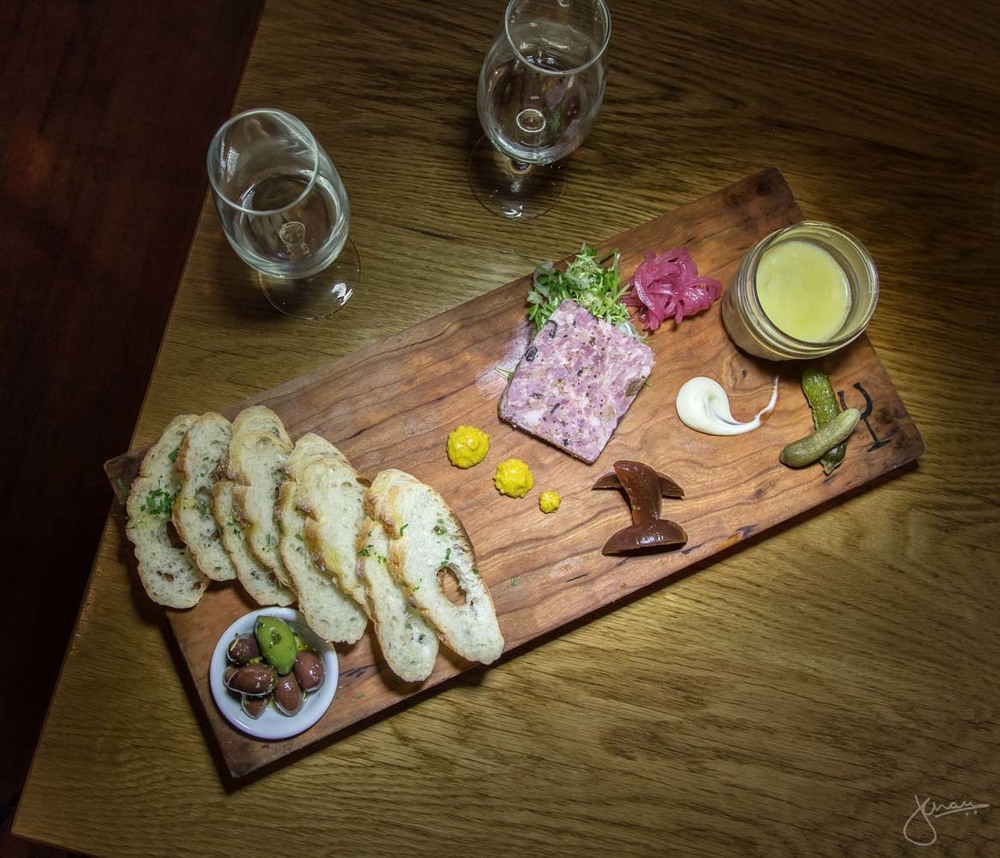 Housemade Characuterie - Juniper Scented Pork Terrine and Chicken Liver Pate with pickled plums & aioli