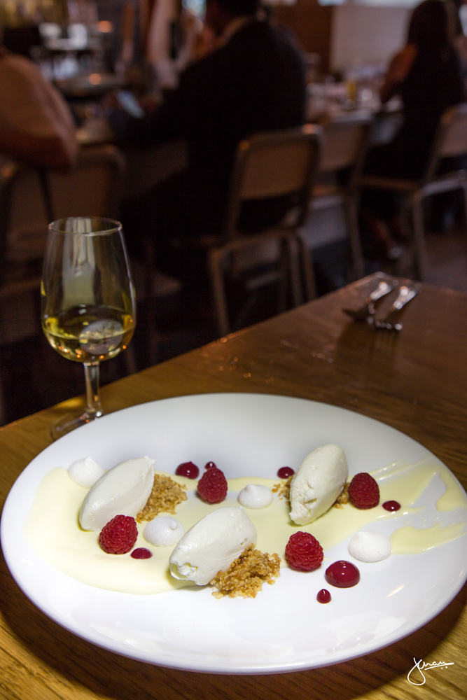 Lemon Custard - chantilly cream, raspberry coulis, hazelnut praline, merangue and BC raspberries