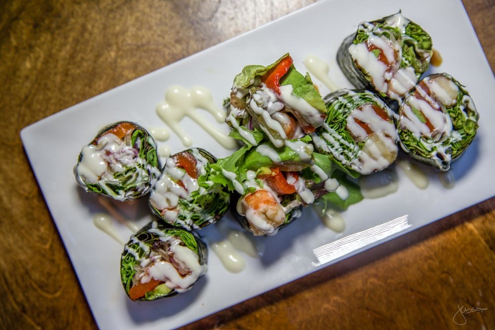 Prawn salad roll with  kewpie mayonnaise and jalapeno peppers