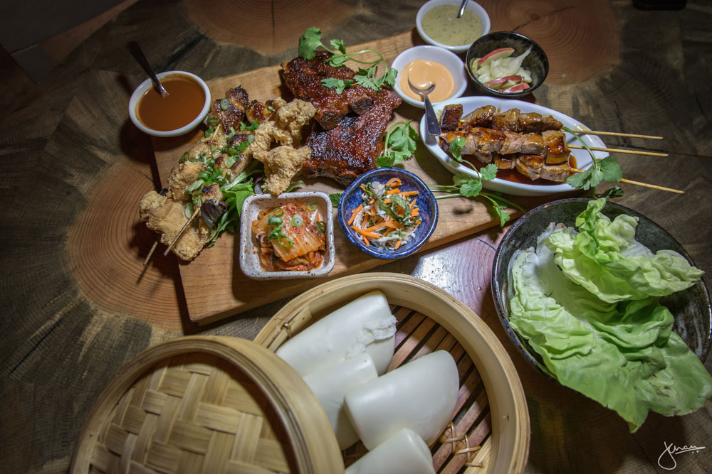 Family Style Bao Board with Bao Buns & Butter Lettuce