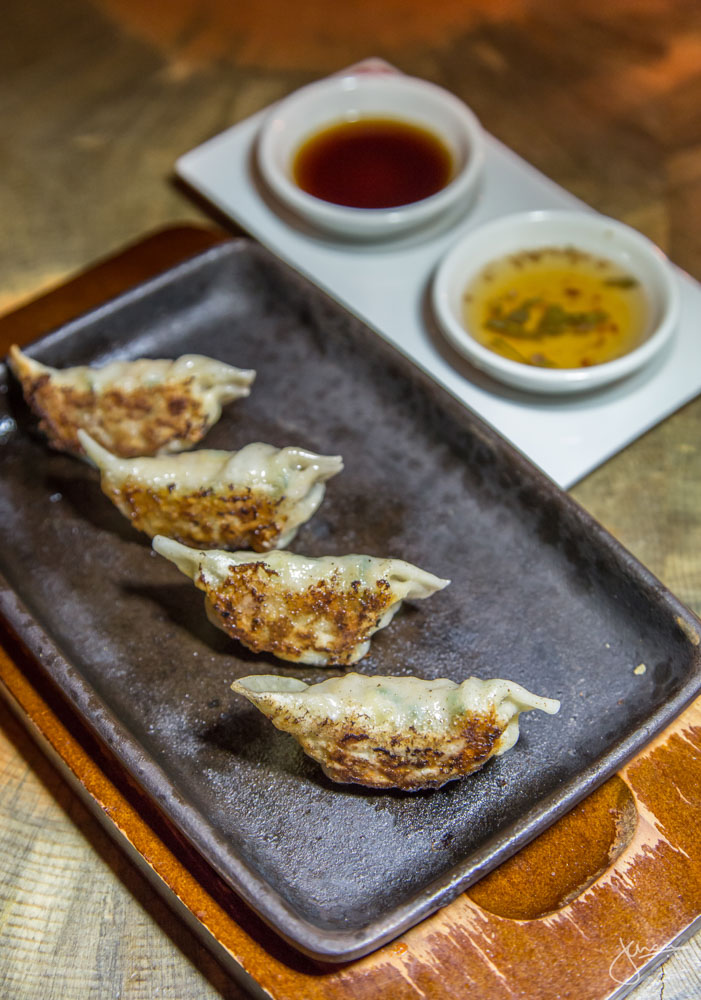 Chili Shrimp Teppan Gyoza - with Cilantro-Garlic Vinegar + Umami Soy