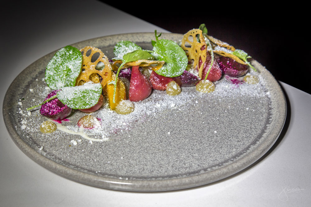 Beet Salad - salt-baked beets, apple gel, lotus chips, farmhouse goat cheese, hazelnut dressing