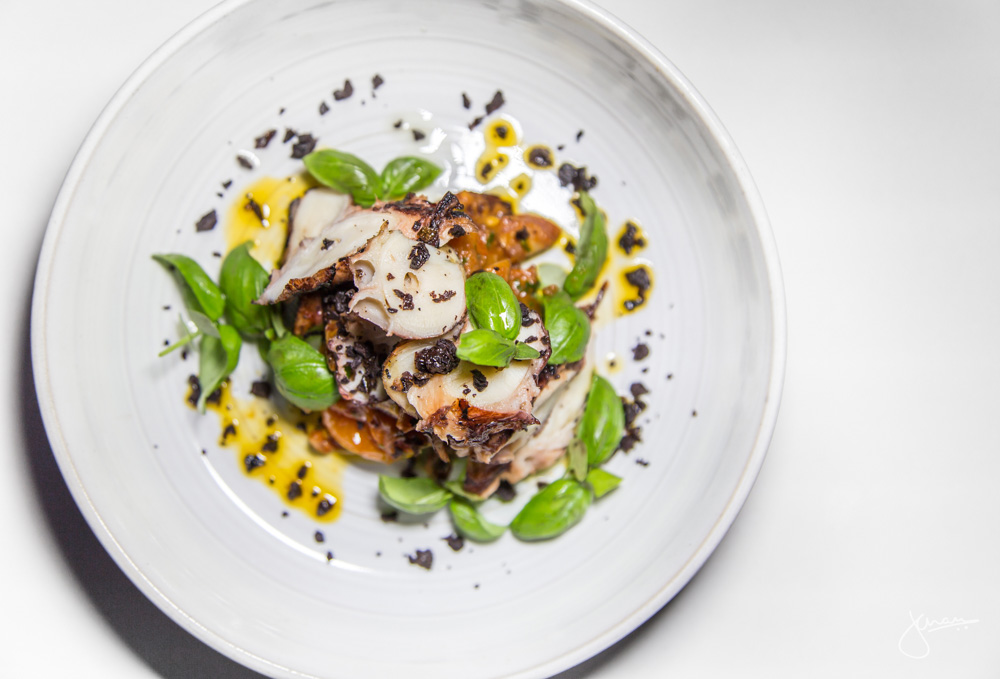 Chared Local Octopus - tomatillo dressing, dried olives, chorizo, summer heirloom tomato ragu