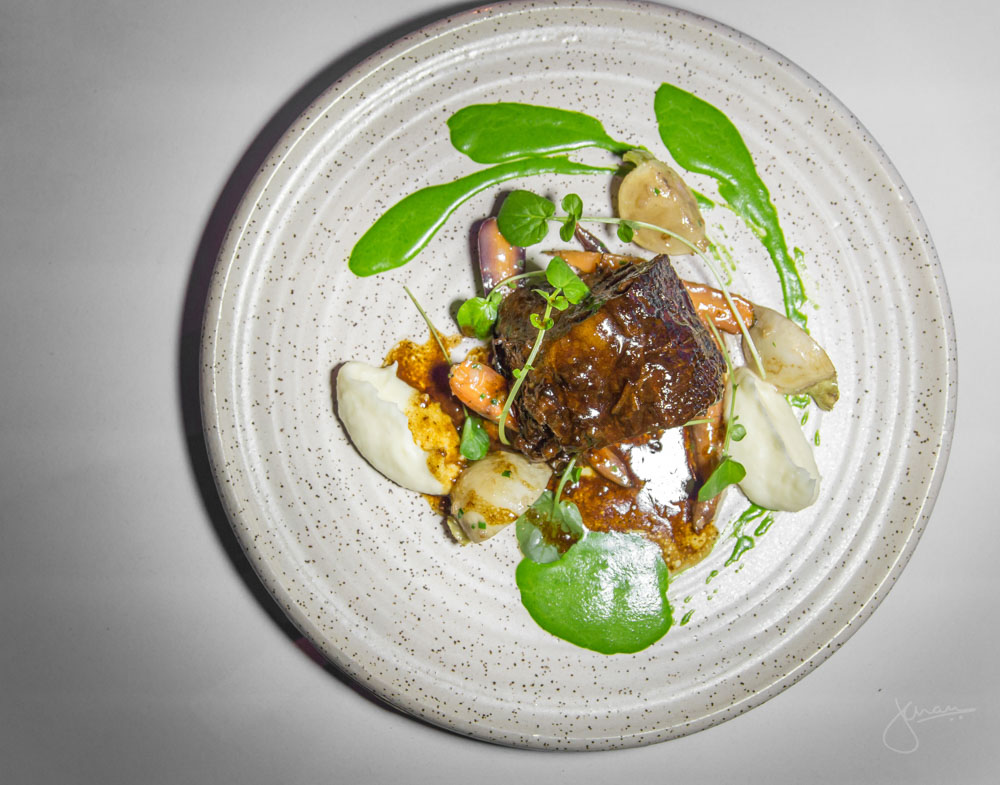 Braised Beef Shortrib - coffee and chili glazed, roasted baby turnips, parsley