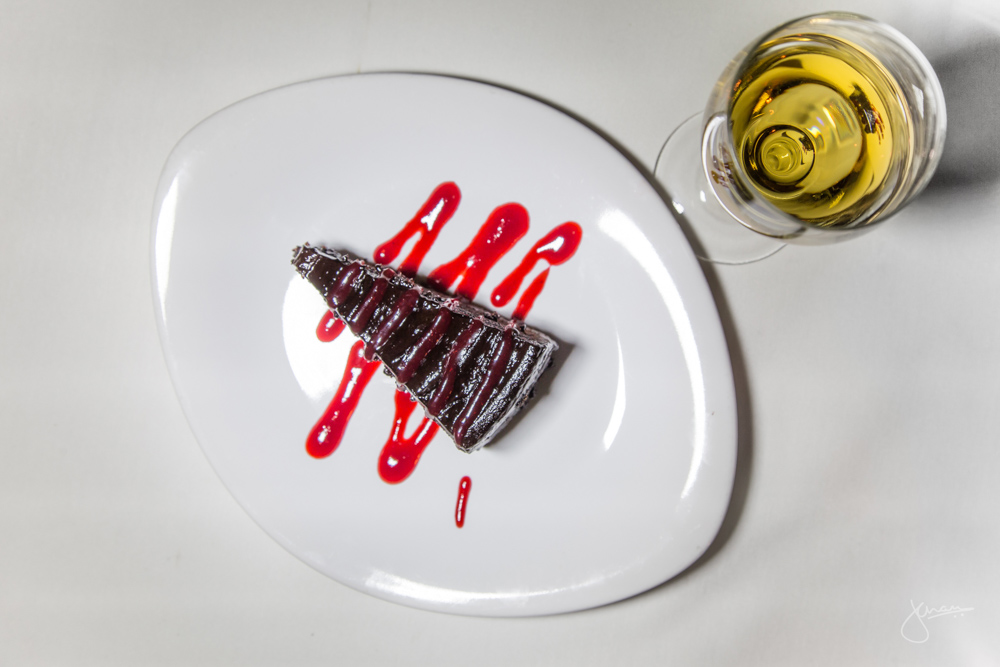Chocolate Fudge Cake - raspberry coulis with Mission Hill Late Harvest Vidal 2012