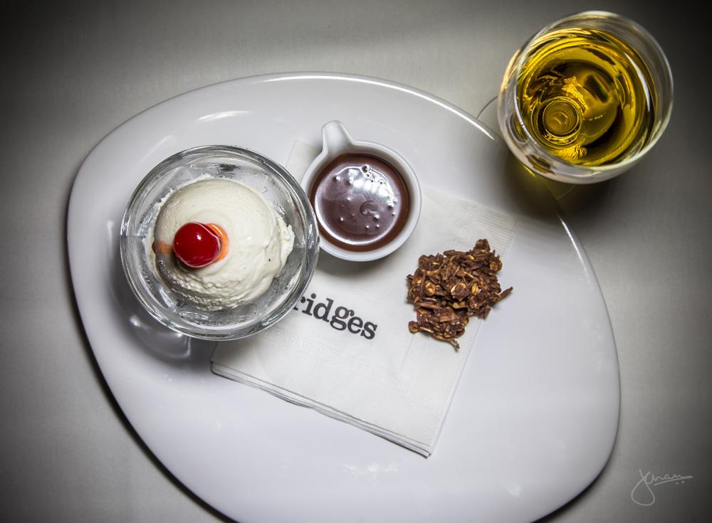 Bridges Sundae - housemade vanilla gelato, Lindt chocolate sauce, coconut macaroon