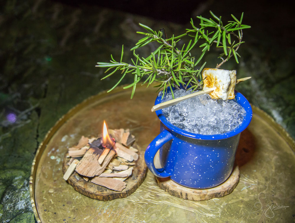"Campfire Gin & Tonic - ""if you drink a g&t in the woods and nobody is there to see it, did it happen?"" Stump forest gin, charred cedar bitters, lemon juice, gin marshmallow"