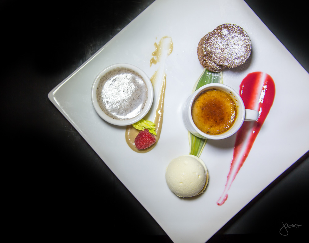Choca Trio - chocolate lava cake, white chocolate parfait, coffee brulee
