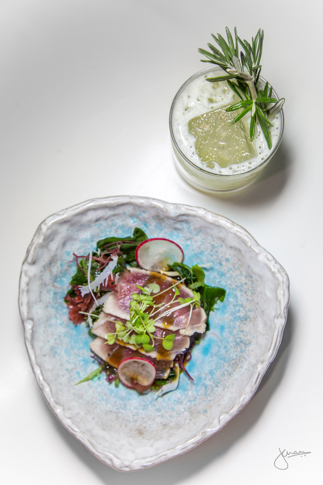 Red Tuna Tataki + Light-Zaiten - Yuzu Kosho vinaigrette, soy gelée, daikon, micro greens