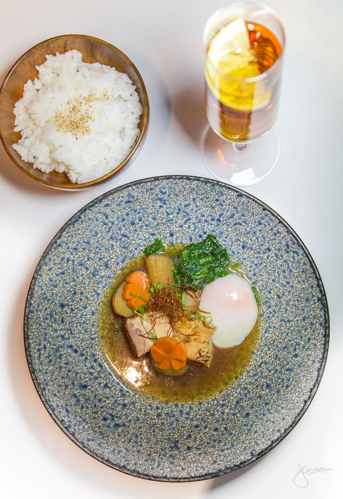 Kurobuta Pork Kakuni + Pork 'n' Cider - Braised Pork belly, 62*c egg, sweet soy broth, daikon, carrot, potato, tamanishiki rice