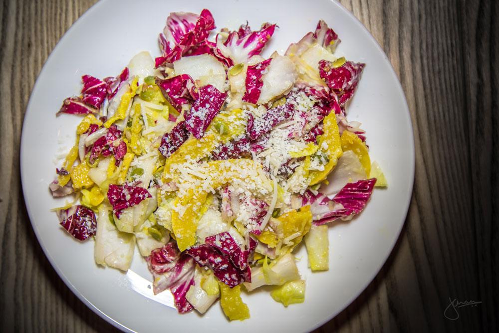 Mixed Chicory Lettuce - delicata square, pumpkin seeds, Parmigiano-Reggiano, lemon vinaigrette