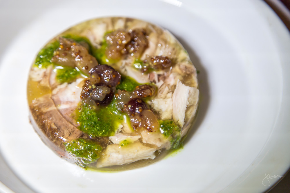 Bolito Misto - cold terrine of short rib and Cornish hen in aspic, mostarda, salsa verde